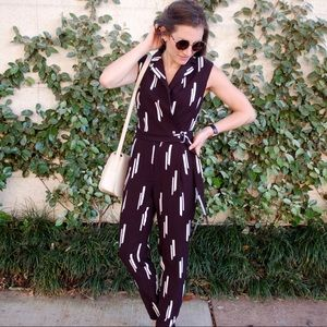 Pants - Black and ivory jumpsuit with buckle waist